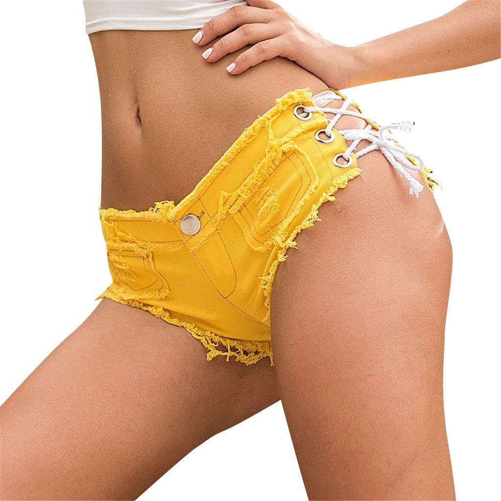EOWEO PantJeansforWomen,Women Sexy Bandage Button Cut Off Low Waist Denim Jeans Shorts Mini Hot Pants(Medium,Yellow)