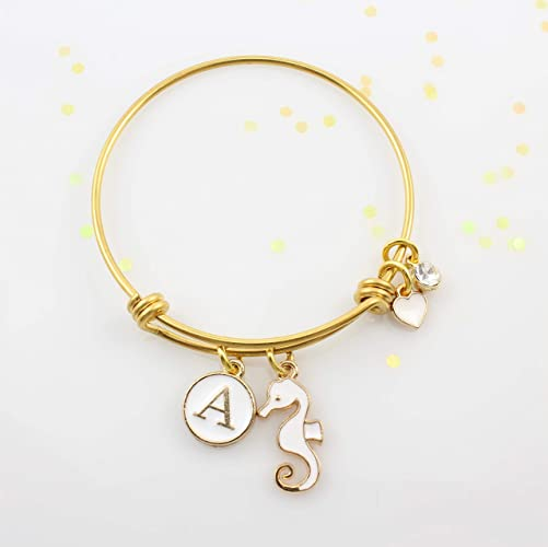 086bcffa7a611 Amazon.com: Personalized Little Girls Gold Seahorse Charm Bangle ...