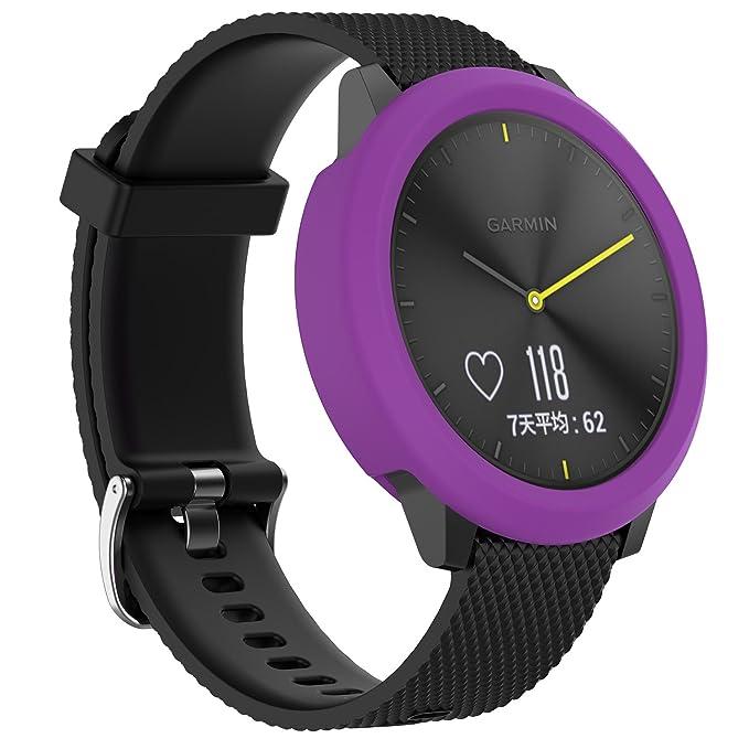 Ruentech Carcasa de silicona para Garmin VivoMove HR, funda de silicona de repuesto para Garmin VivoMove HR GPS, reloj de running, color 3pack-4: Amazon.es: ...
