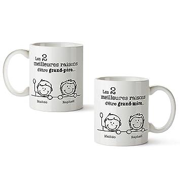 Parfait Set de 2 tasses imprimées - Meilleures raisons Mamie et Papi  BC02