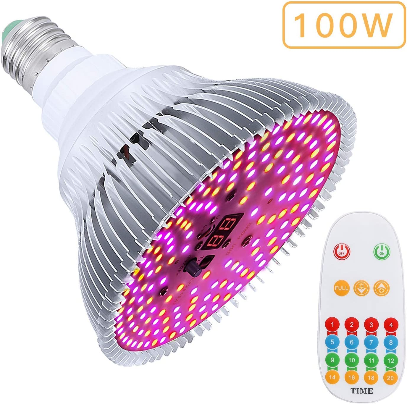 Grow Light Bulb,100W grow lights for indoor plants full spectrum with Auto On/Off Timer Brightness Settings for Indoor Plants Vegetables,Seedlings,Hydroponics Indoor Garden Greenhouse(E26/E27 160LEDS)
