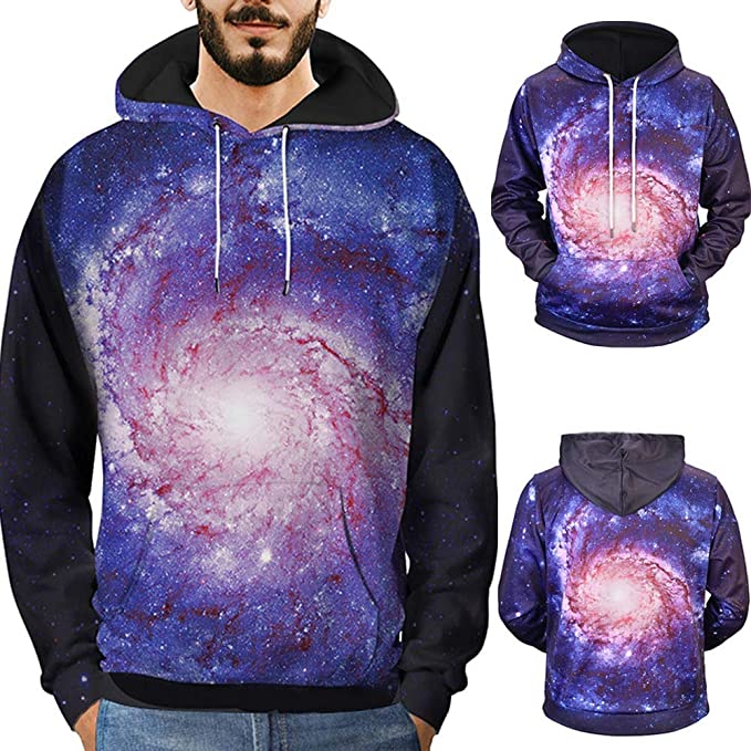 2515dda6eef1 Image Unavailable. Image not available for. Color  Men s Hoodie Sweater Top  3D Print Sky ...