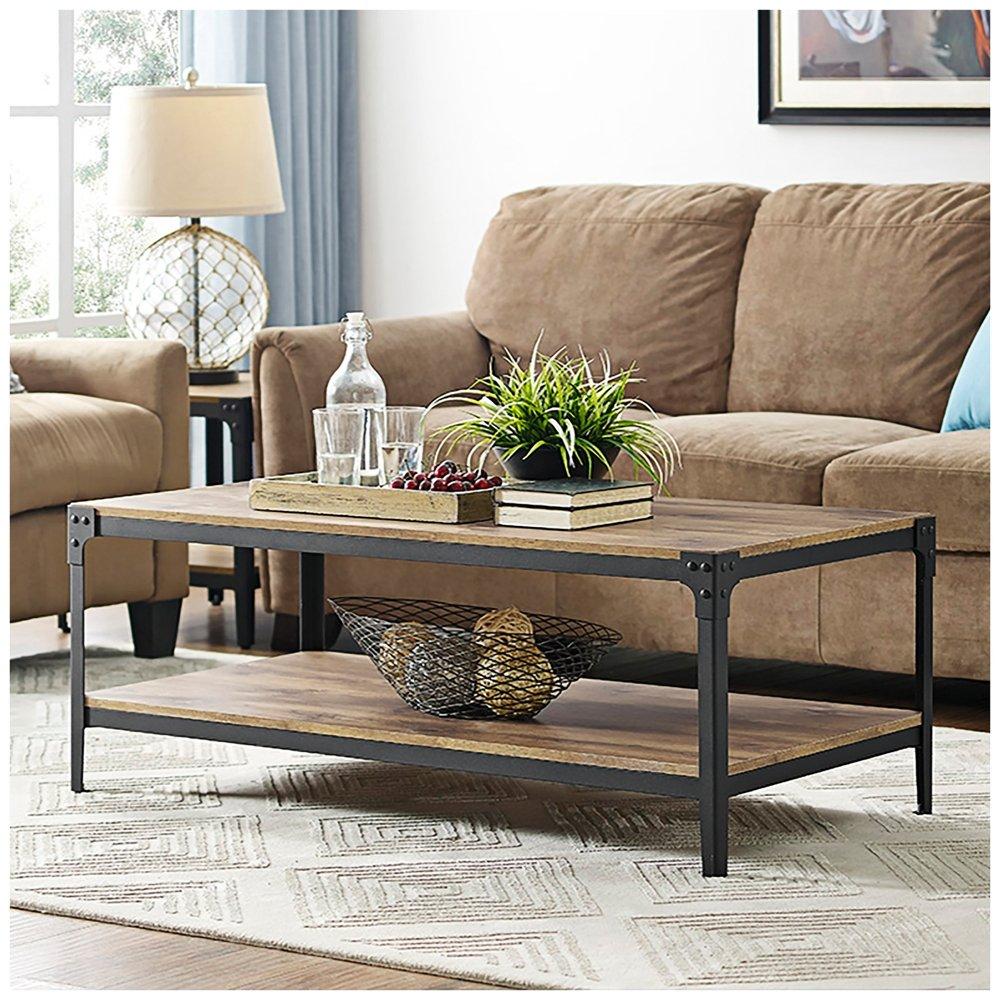 Amazon com walker edison furniture company angle iron rustic wood coffee table in barnwood kitchen dining
