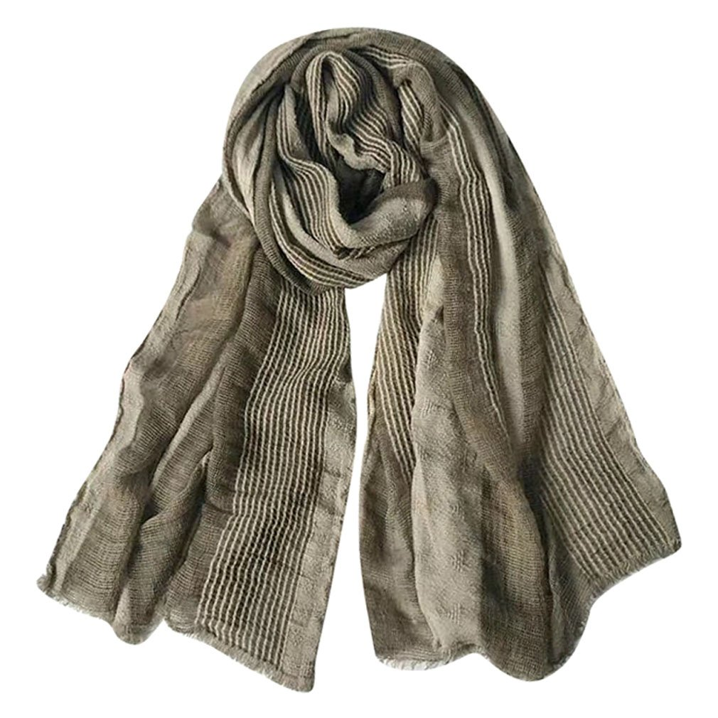 GERINLY Cotton-Linen Scarves Mens Stripe Crinkle Long Scarf (Light Brown)