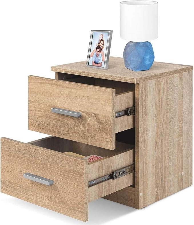 COMIFORT Mesa de Noche - Mesita Auxiliar para el Dormitorio de Estilo Nórdico, Moderna y Minimalista, con 2 Espaciosos Cajones, Muy Resistente, de Color Roble: Amazon.es: Hogar
