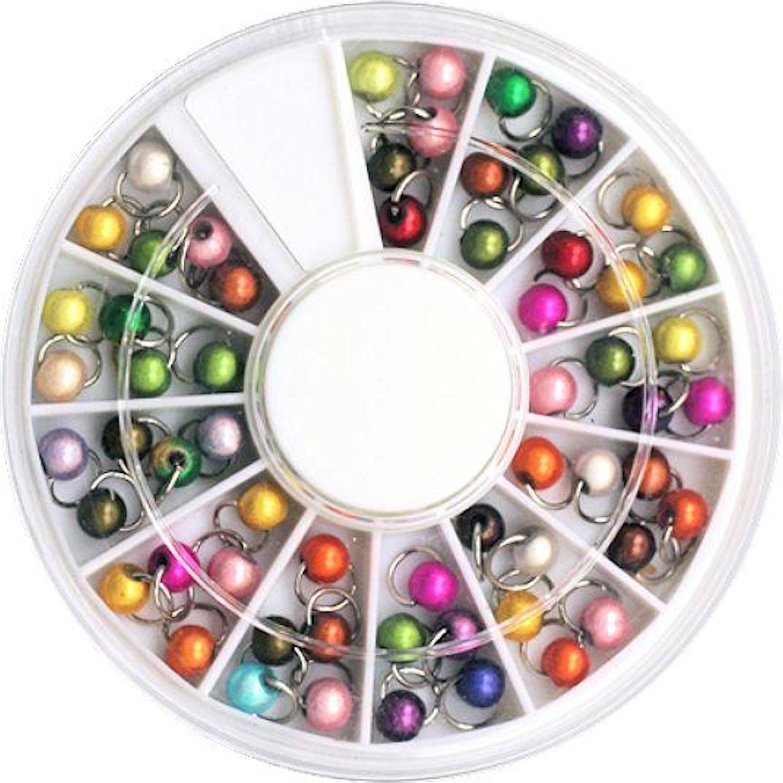 1 grande Straßrad con 60 pz dispone di armedangels/piercing fatti: rotondo dotata di tasca interna piccola Perle (colori assortiti) NAILART & MEHR
