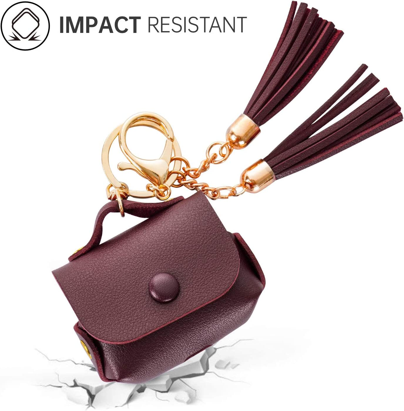 ODUMDUM Cute AirPods Pro Protective Case Cover for Apple Airpods Pro Case Best Gift for Girls and Women Airpod Accessories PU Leather Case Tassel Charm Women Key Ring Maroon
