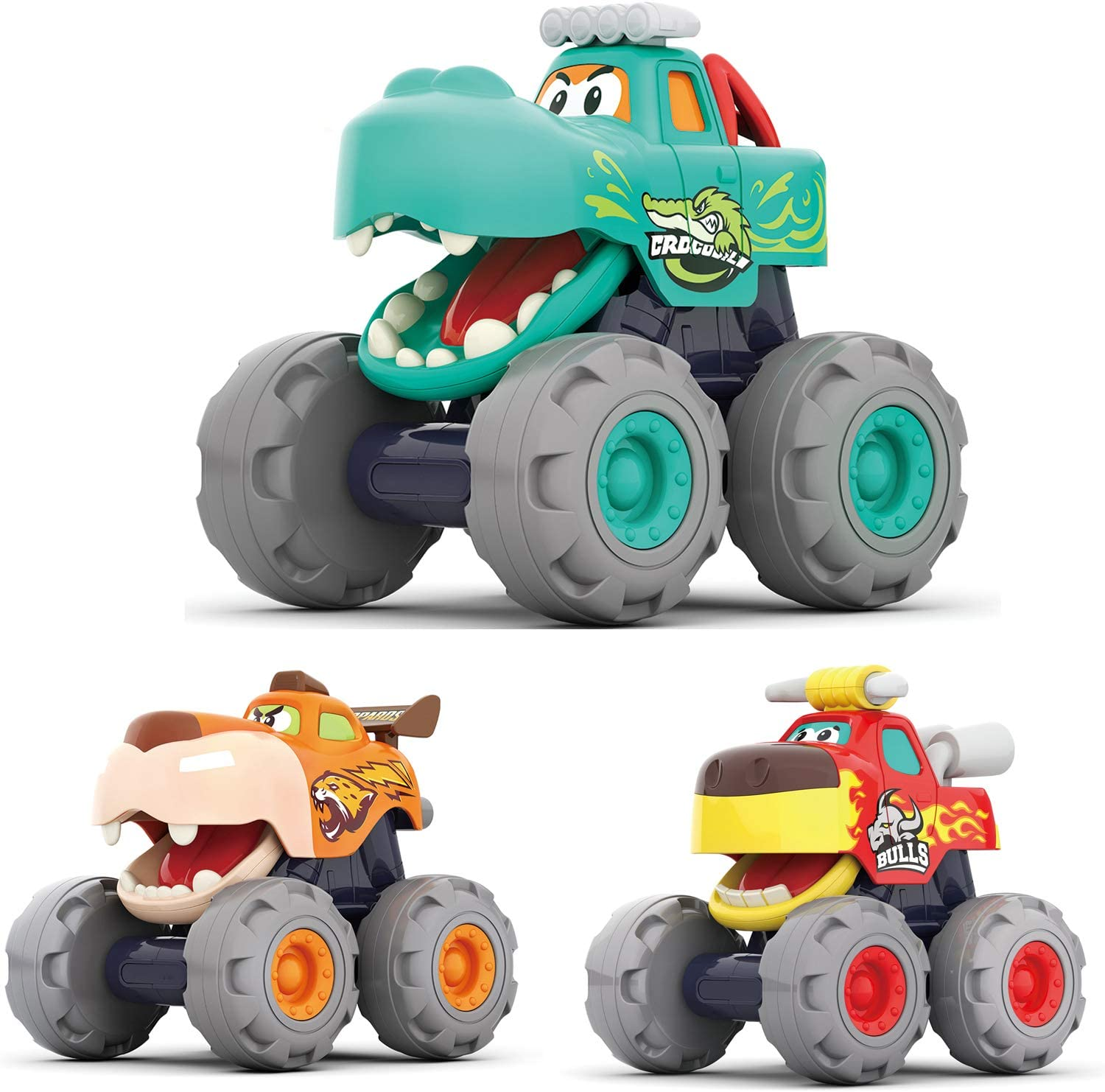 MOONTOY Toy Cars for 1 2 3 Year Old Boys, 3 Pack Friction Powered Cars Pull Back Toy Cars Set - Bull Truck, Leopard Truck, Crocodile Trucks, Push and Go Toy Cars for Toddler Boys Baby Gift.