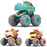 MOONTOY Toy Cars for 1 2 3 Year Old Boys, 3 Pack Friction Powered Cars Pull Back Toy Cars Set - Bull Truck, Leopard Truck, Cr