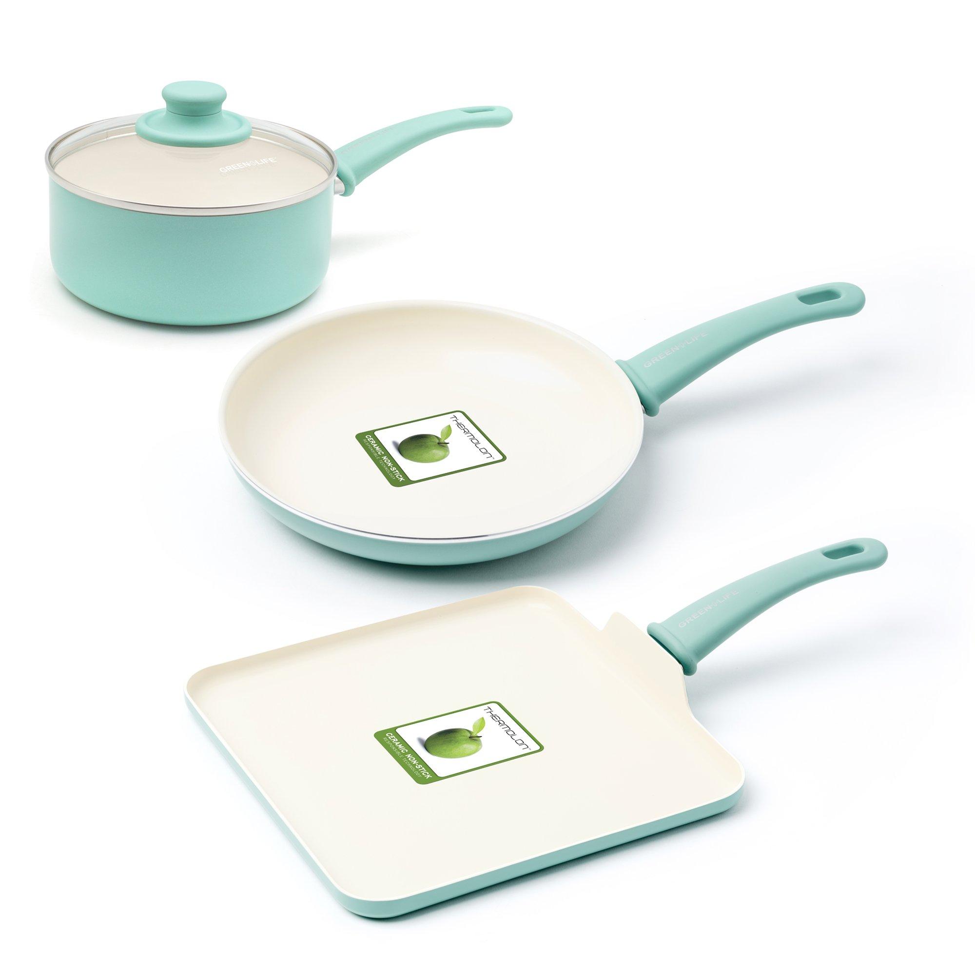 GreenLife CC000884-001 Soft Grip Absolutely Toxin-Free Healthy Ceramic Nonstick Dishwasher/Oven Safe Stay Cool Handle Cookware Set, 4-Piece, Turquoise