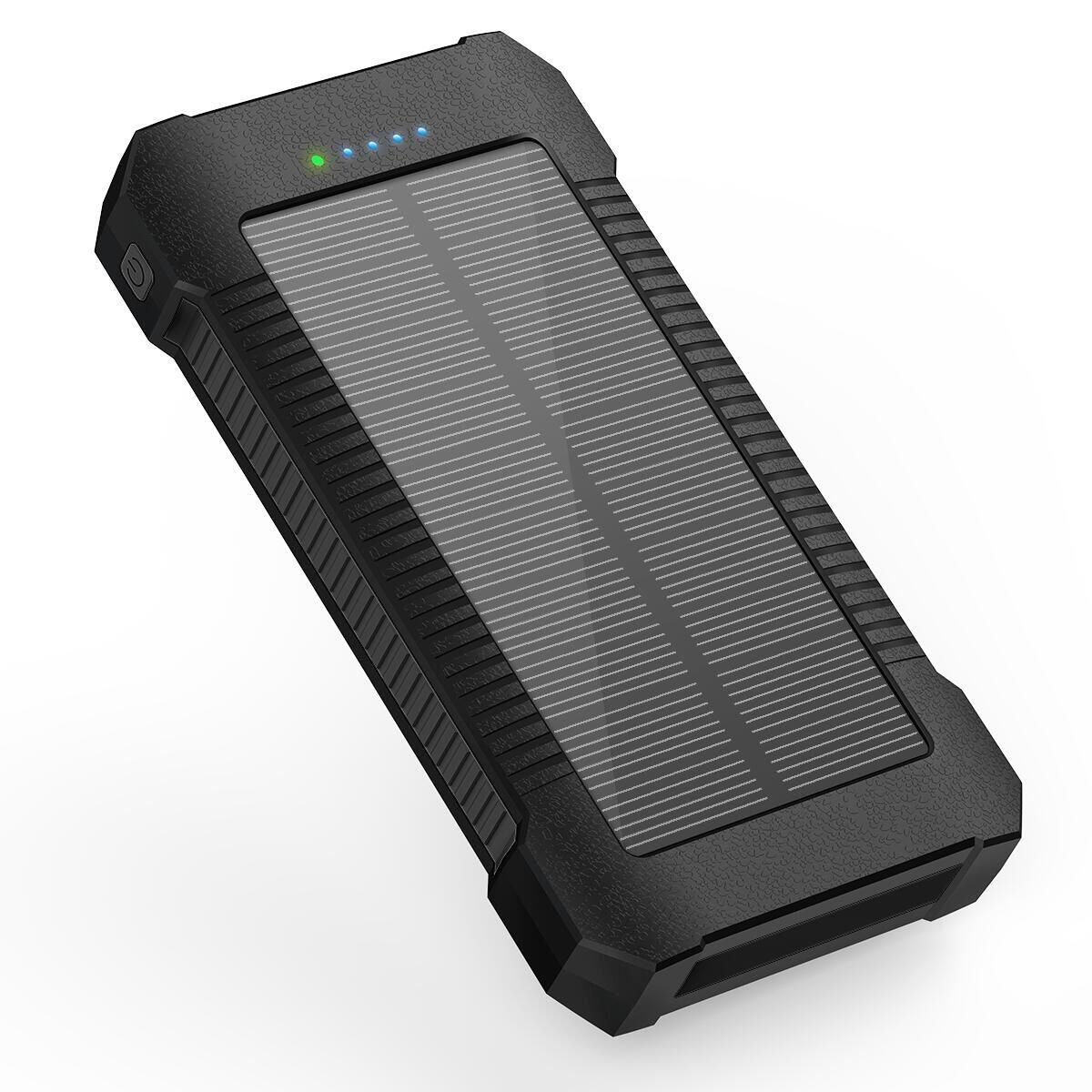 Externer Akku Batterie für Handy Solar Powerbank Ladegerät 22000mAh Solar Ladegerät Tragbares mit 3 Ausgänge und Type-C & Micro USB Dual Input Power Bank Solar Handy mit LED Taschenlampe für iPhone iPad, Samsung Galaxy, Tablet, Android Smar