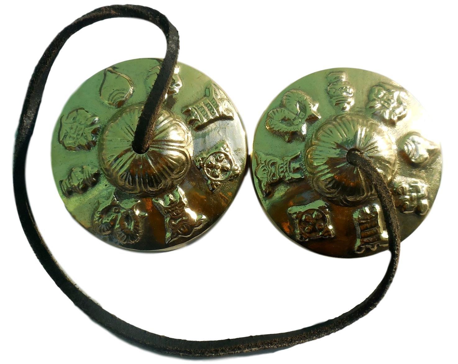Hand Tuned to Key of Om 2.25 Inch- Tingsha Tibetan Bell (Chimes) Buddhist Lucky Symbols (Medium) Thamelmart tha-0131