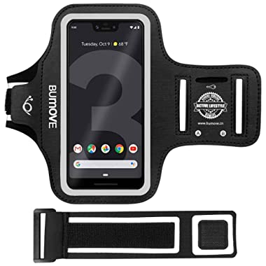 Pixel 3/Pixel 2/Pixel Armband, BUMOVE Gym Running/Workouts Arm Band for Google Pixel 3/Pixel 2/Pixel with Key/Card Holder (Black)