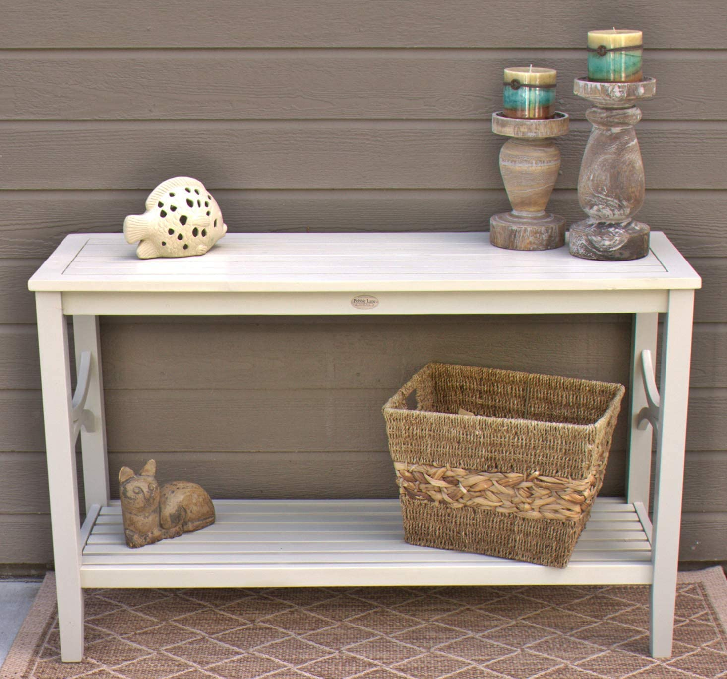 White Wash Pebble Lane Living Solid Wood Outdoor or Indoor Patio Console Serving Bar Table with Lower Shelf