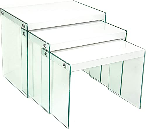 Cordy Inc. – Set of 3 Nesting Tables Modern Stacking Coffee Tables with Tempered Glass Legs – Glossy White