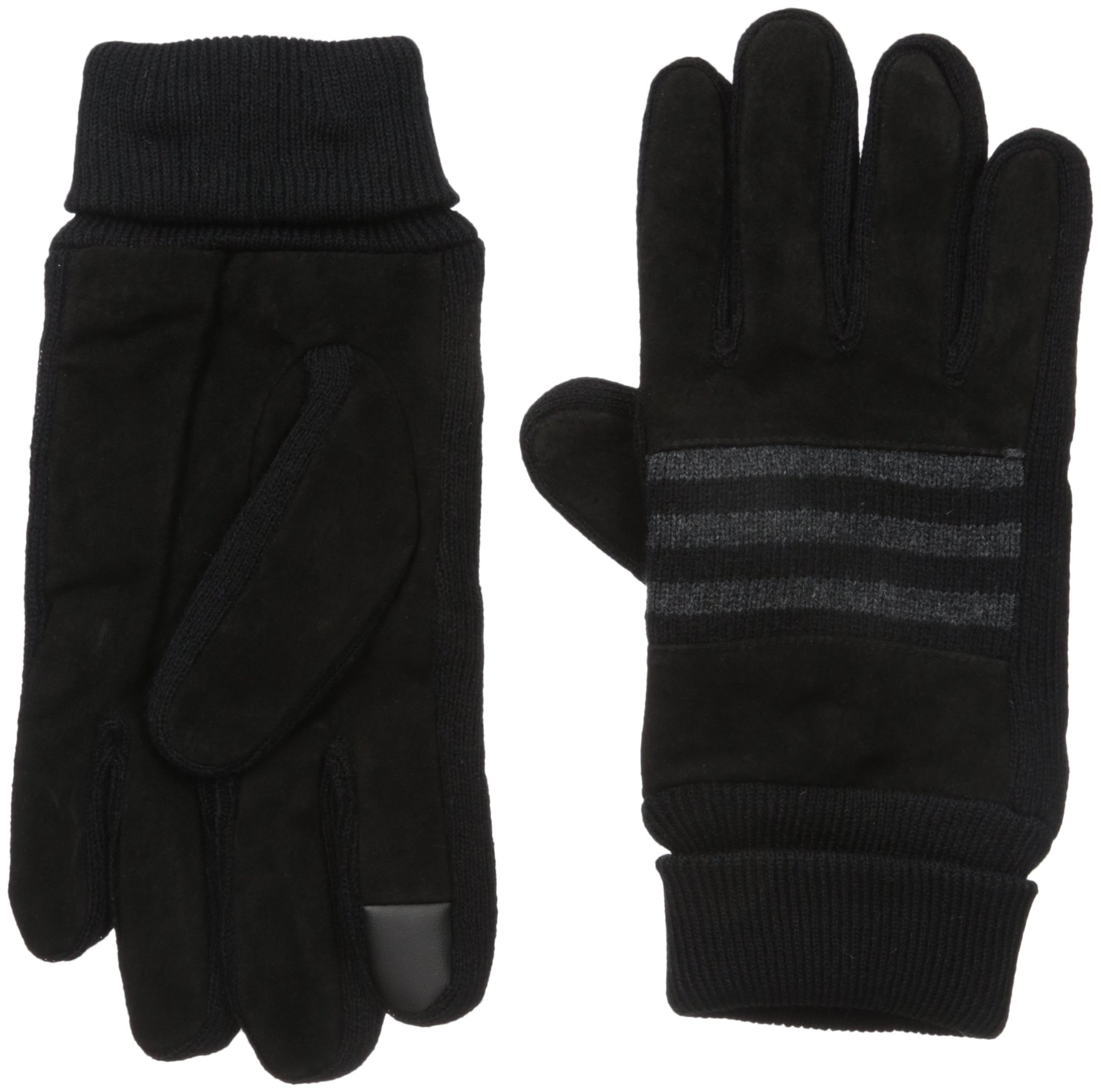 Levi's Men's Suede Gloves With Knit Grip and Screen Capatable Finger, black, Medium