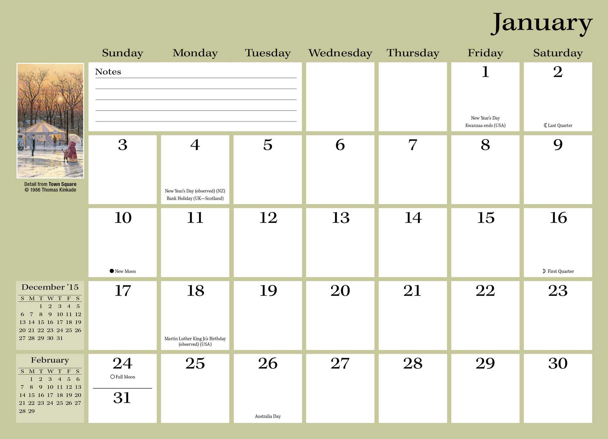 thomas kinkade painter of light monthly pocket planner 2016 calendar