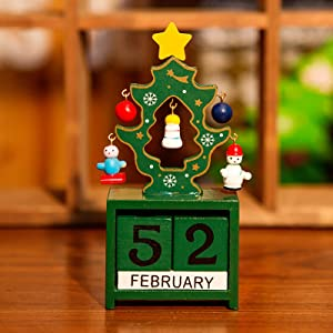 VIAYA Christmas Wooden Advent Calendar DIY Number Date Blocks Tabletop Desk Santa Christmas Tree Countdown Calendar Decoration
