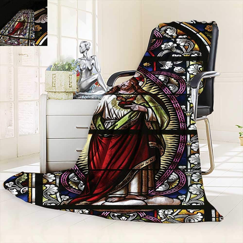 vanfan All-Season Super Soft Blanket Jesus Pictures Catholic Gifts Believe Art Christian Church Cathedral Window View Silky,Silky Soft,Anti-Static,2 Ply Thick Blanket. (90''x70'')