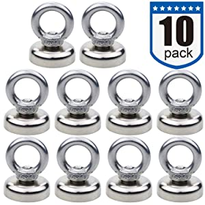 Magnetic Hooks, 40 lbs(18 KG) Pulling Force Rare Earth Magnetic Hooks with Countersunk Hole Eyebolt for Home, Kitchen, Workplace, Office and Garage, Pack of 10