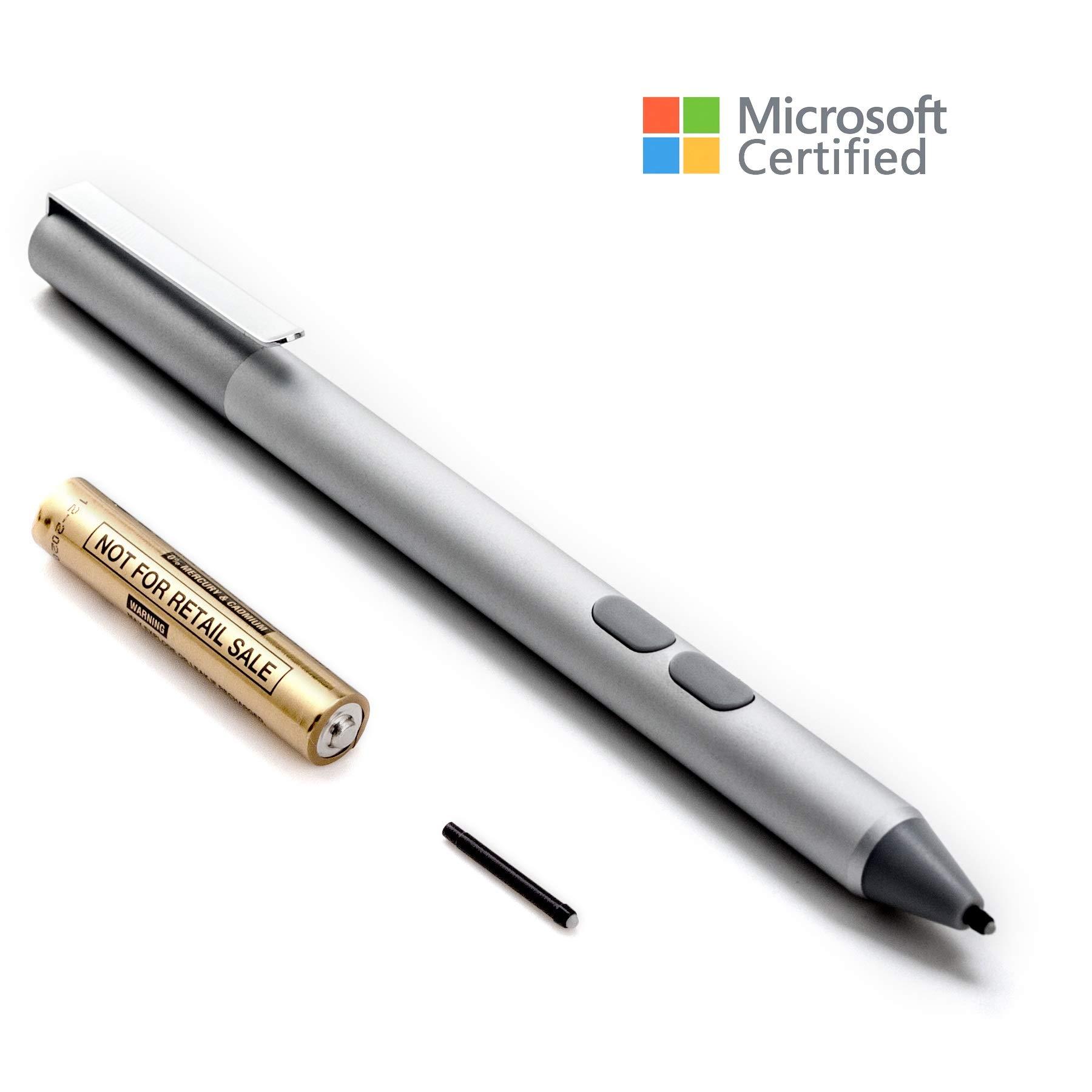 Surface Pen Microsoft Certified, Aluminium Body 4096 Pressure Sensitivity, 2 Soft Nibs for Microsoft Surface 3/4/5/6, Surface Pro 3/ Pro 4/Pro 6/Pro(2017), Surface Book, Surface Laptop/Studio (Silver)