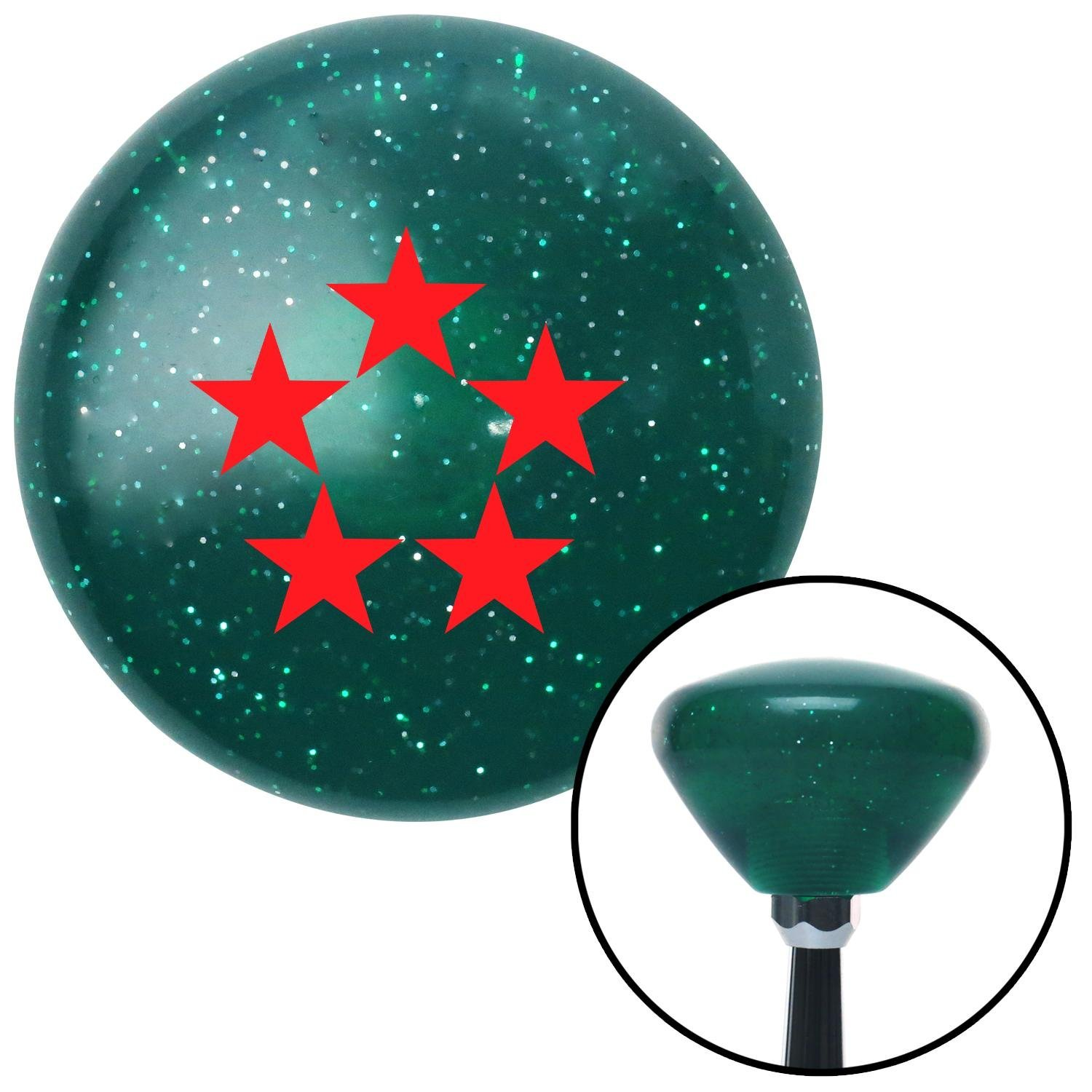 Red Officer 11 - General of Air Force American Shifter 203703 Green Retro Metal Flake Shift Knob with M16 x 1.5 Insert