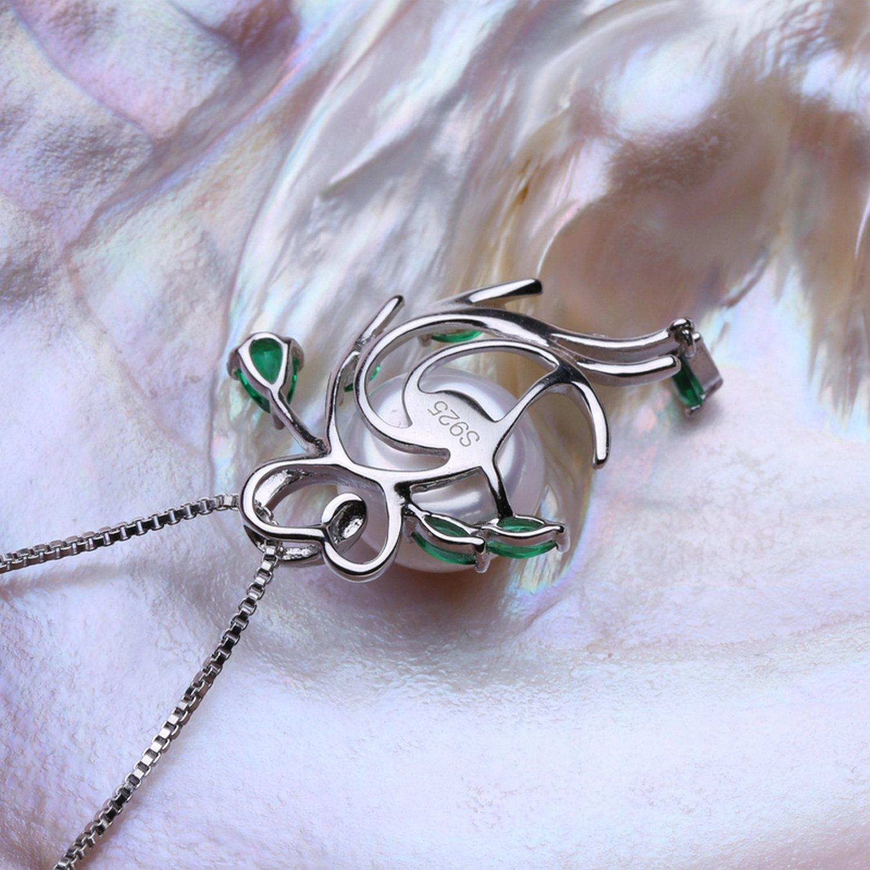 CS-DB Jewelry Silver Flower Emerald Bohemia Chain Charm Pendants Necklaces