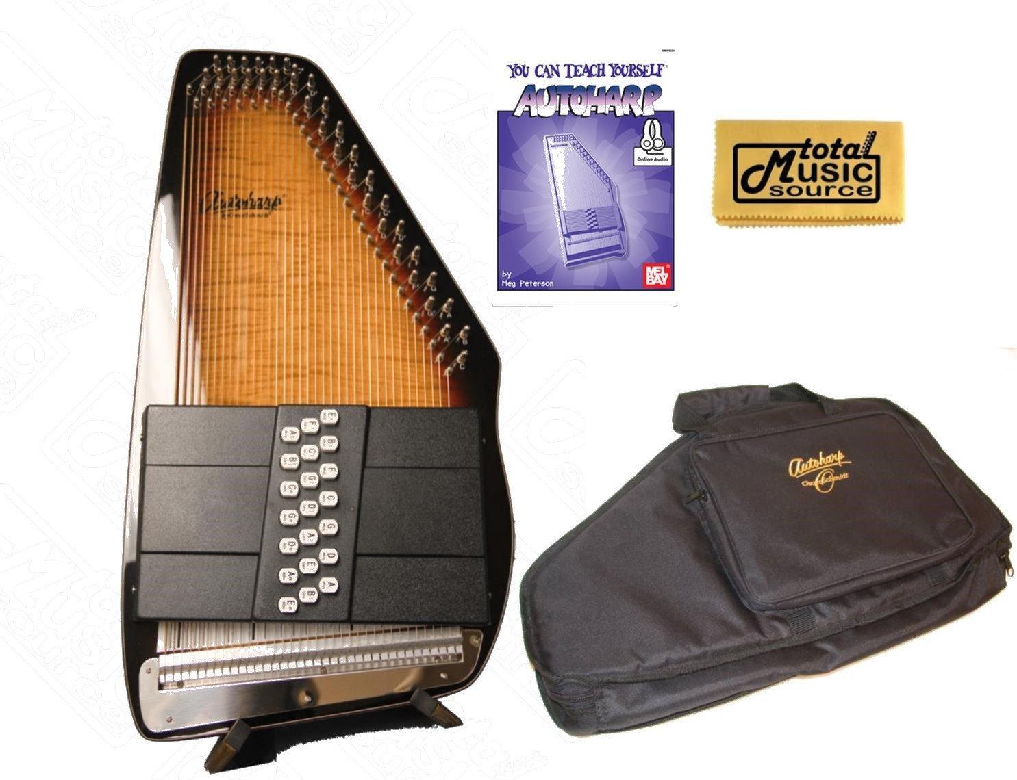 Oscar Schmidt 21 Chord Electric Autoharp, Passive Pickup, Gloss Finish, OS150FCE AC445PACK