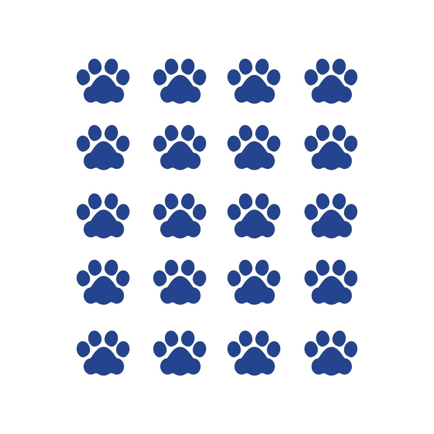 LiteMark 1 Inch Blue Removable Cat Paw Prints Decal Stickers for Floors and Walls - Pack of 60