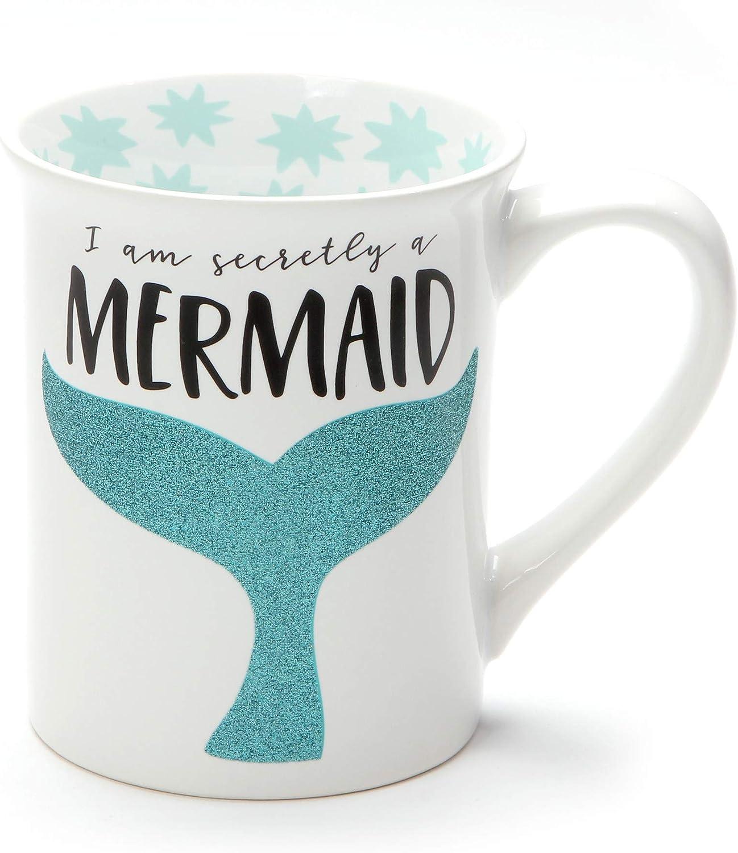 Secretly a Mermaid Blue Tail 16 Ounce Glitter Ceramic Coffee Mug