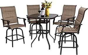 Eco Home 5PCS Swivel Bar Sets Patio Padded Textilence High Bistro Sets, 4 Bar Stools and 1 Tempered Glass Desktop, All-Weather Patio Furniture,Patio Bar Height Set for Garden, Lawn and Yard (5PCS)