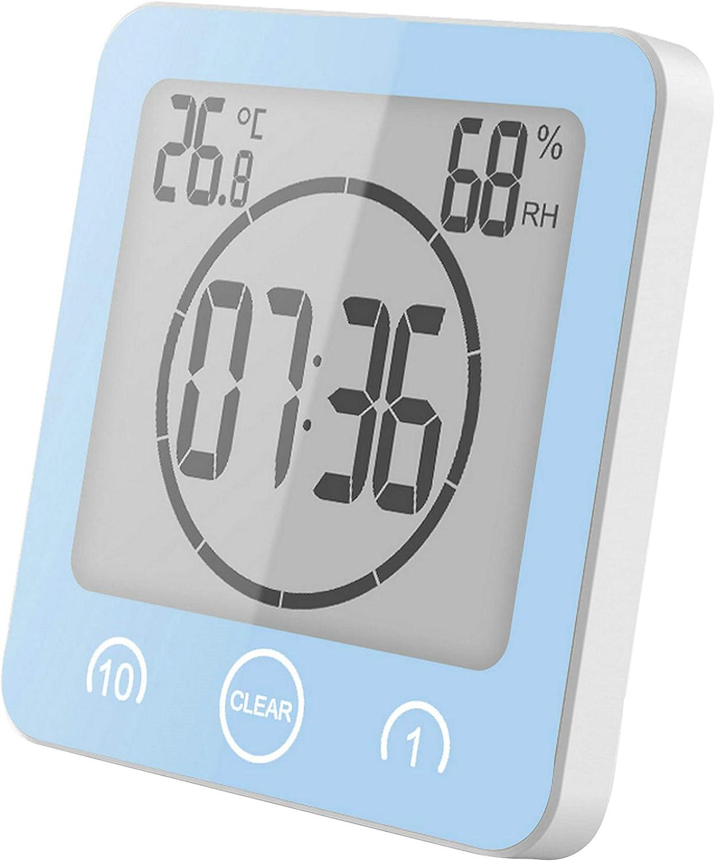GuDoQi Badezimmeruhr, Digitaler Wecker Uhr, Wasserdicht für Wasserspray,  Countdown Küchentimer, Großen LCD Display, Thermometer Hygrometer Duschuhr