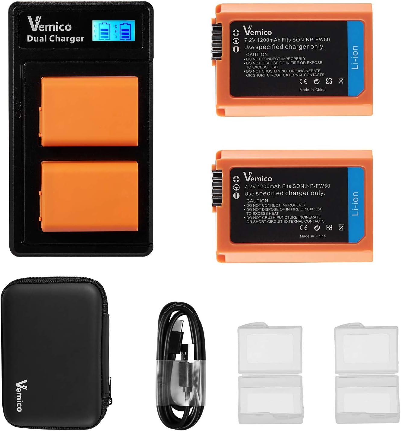RAVPower NP-FW50 Akku Ladeger/ät Dual USB Charger f/ür Sony Alpha7 6300//6000 5100 NEX-7 NEX-6 NEX-F3 NEX-3 Nex-5 NEX-5N NEX-5T SLT A55V A33 A35 A37 usw. 6500//6400 7ii