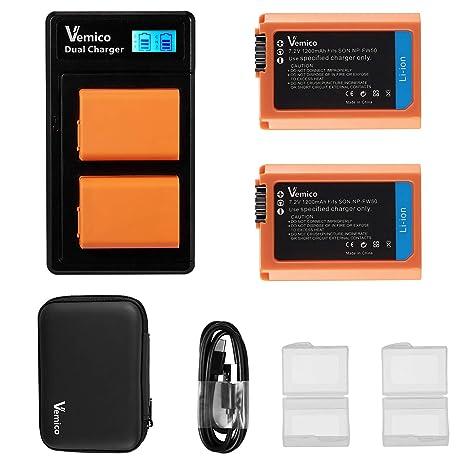 Vemico NP-FW50 Batería Cargador para Sony Alpha 7 7ii 6500 ...