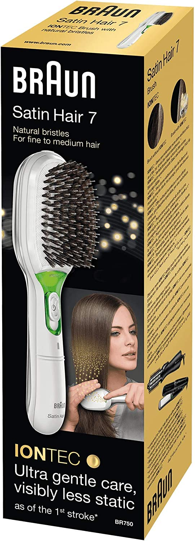 Braun Satin Hair 7 BR750 - Cepillo de pelo con cerdas naturales, alisador de pelo con tecnología iónica para realzar el brillo del cabello