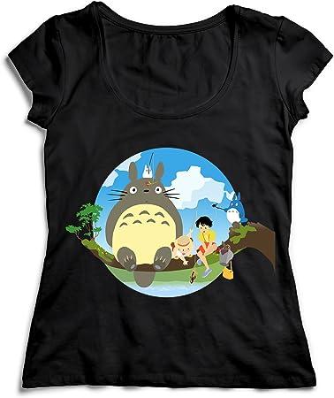 MYMERCHANDISE Totoro Characters Sitting On The Tree Branch My Neighbor Totoro T-Shirt Camiseta Shirt para la Mujer Camisa Negra Women's Women Tshirt 100% Algodón Regalo De Cumpleaños Navidad Mujer