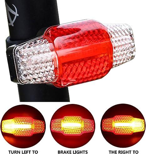 Luz trasera ultrabrillante USB recargable para bicicleta, luz trasera intermitente, luces de freno LED para bicicleta, soporte trasero, Smart Bike, advertencia, intermitente, señal de giro, impermeable, luces de bicicleta, conducción nocturna: Amazon.es:
