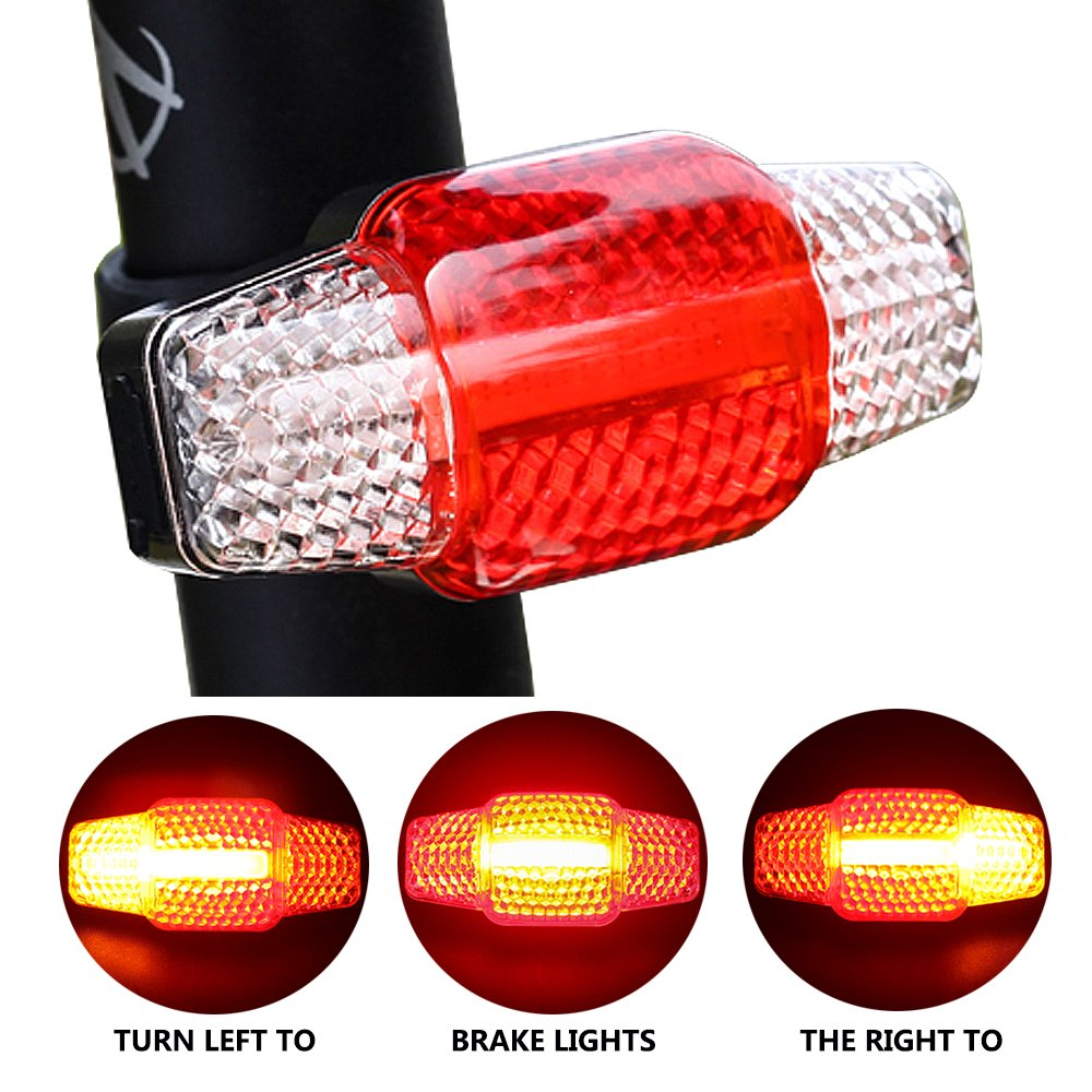 LED Rear Bike Light USB Rechargeable Ultra Bright Bicycle Tail Light Waterproof Brake Lights Road Bike Taillight High Intensity Rear Accessories Turn Light Easy to Install for Cycling Safety Warning