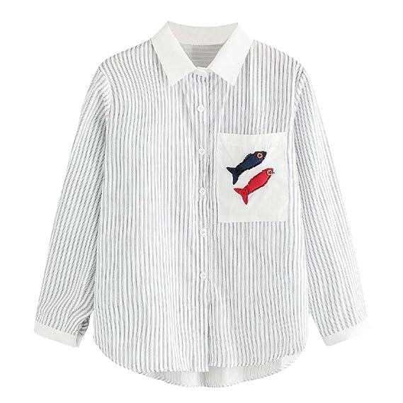 DEELIN Blusa Blanca De Manga Larga A Rayas con Mangas Largas para Mujer (S,