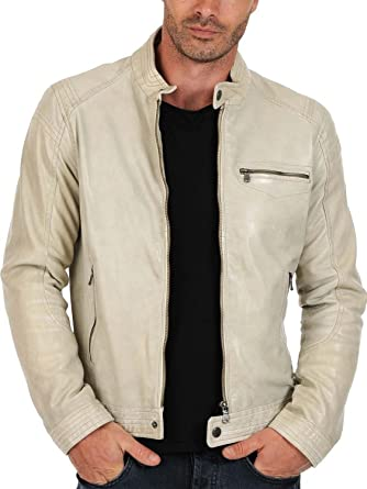 Kingdom Leather New Men Quilted Leather Jacket Soft Lambskin Biker Bomber X663