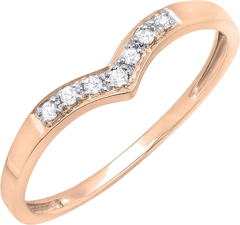 Dazzlingrock Collection 10K Gemstone Bridal Chevron Solitaire Engagement Ring White Gold