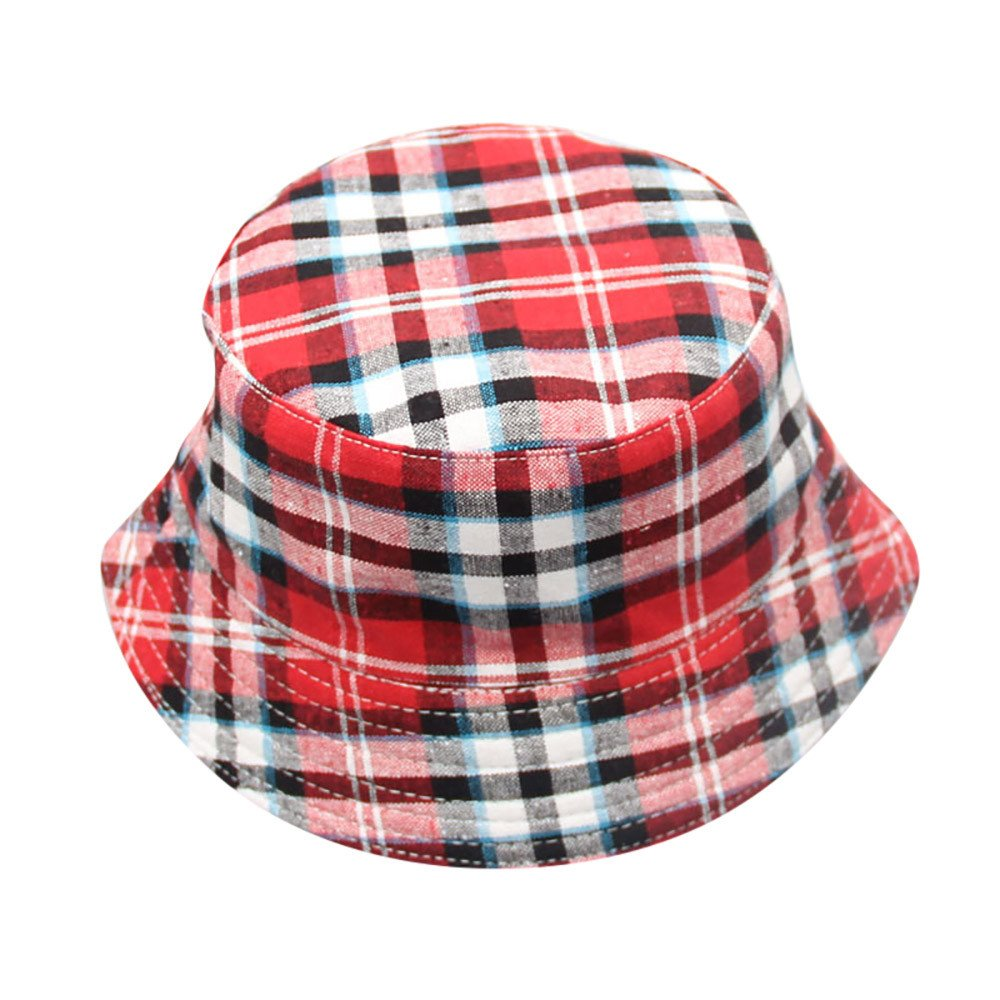 ❤️ Mealeaf ❤️ Toddler Baby Kids Boys Girls Plaid Pattern Bucket Hats Sun Helmet Cap(C,)