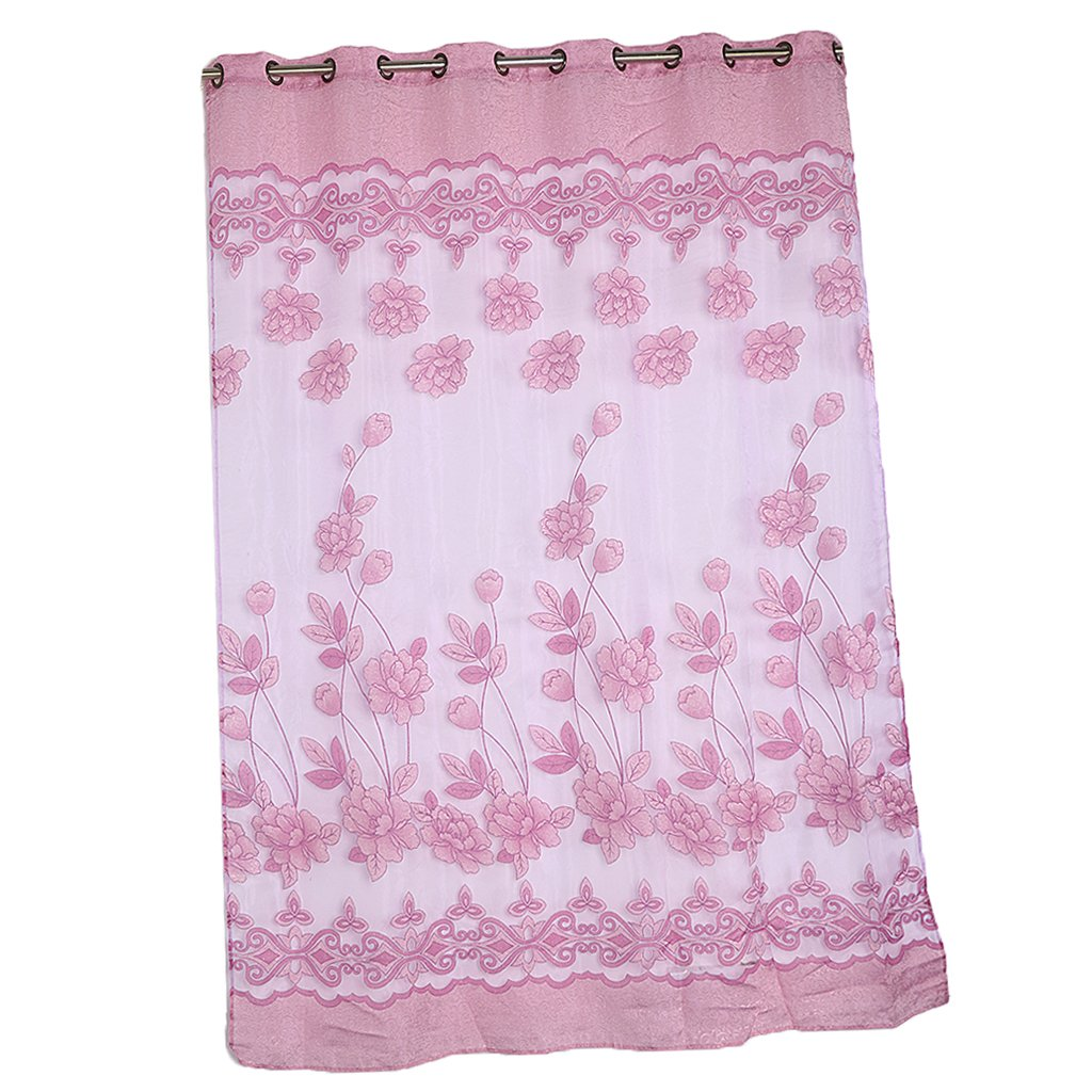 MonkeyJack Floral Printed Sheer Voile Window Curtain with Grommet Top for Living Room Bedroom Decoration - Light Purple, 200x250cm