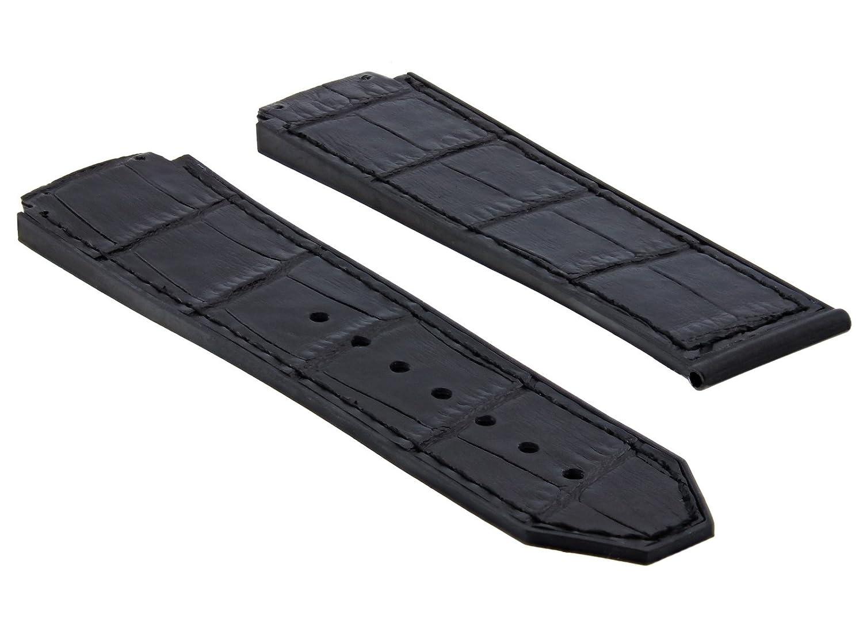 24 mm Alligator Leather Rubber Band Strap for 44 – 45 mmウブロH Big Bangブラック# 9h  B07D6QD5Q8