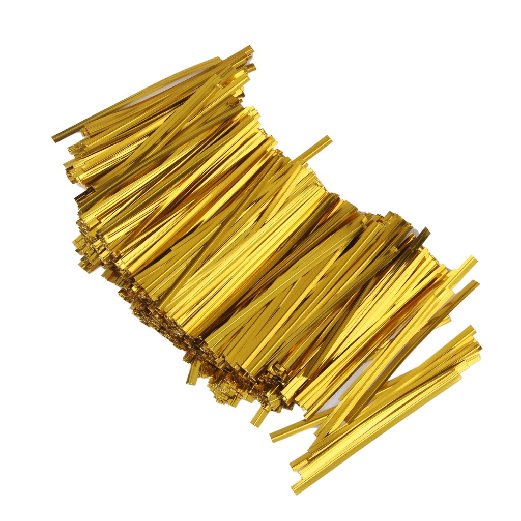 Approx.800 Pcs Metallic Gift Wrapping Metallic Twist Ties for Party Bakery Cookie Candy Bags Gold Generic AEQW-WER-AW129825