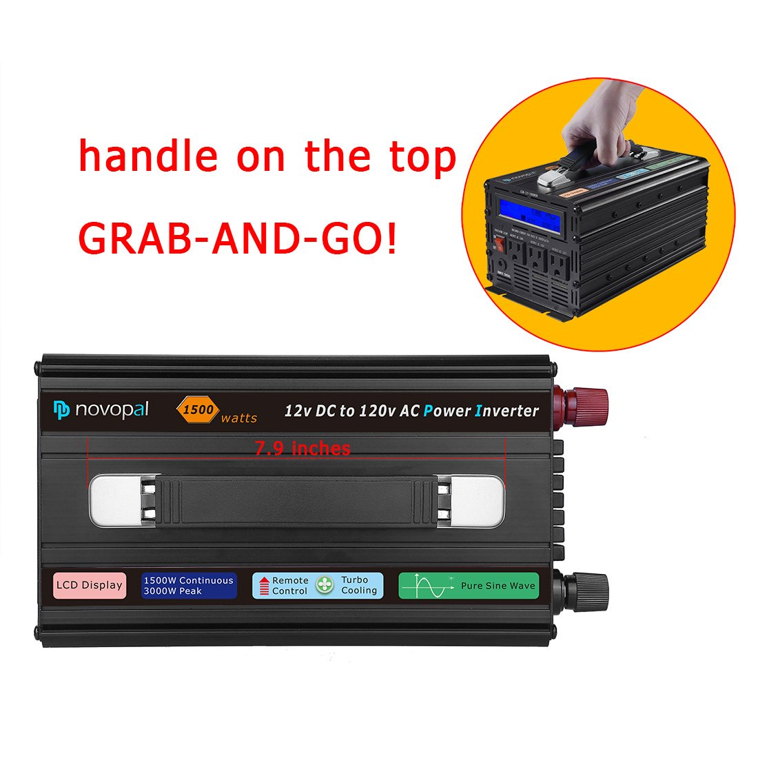 Novopal Power Inverter Pure Sine Wave True Idea 1500 Watt 3 Ac Outlets Dc 12v To 120v With Remote Control Big Lcd Displaysurge 3000w