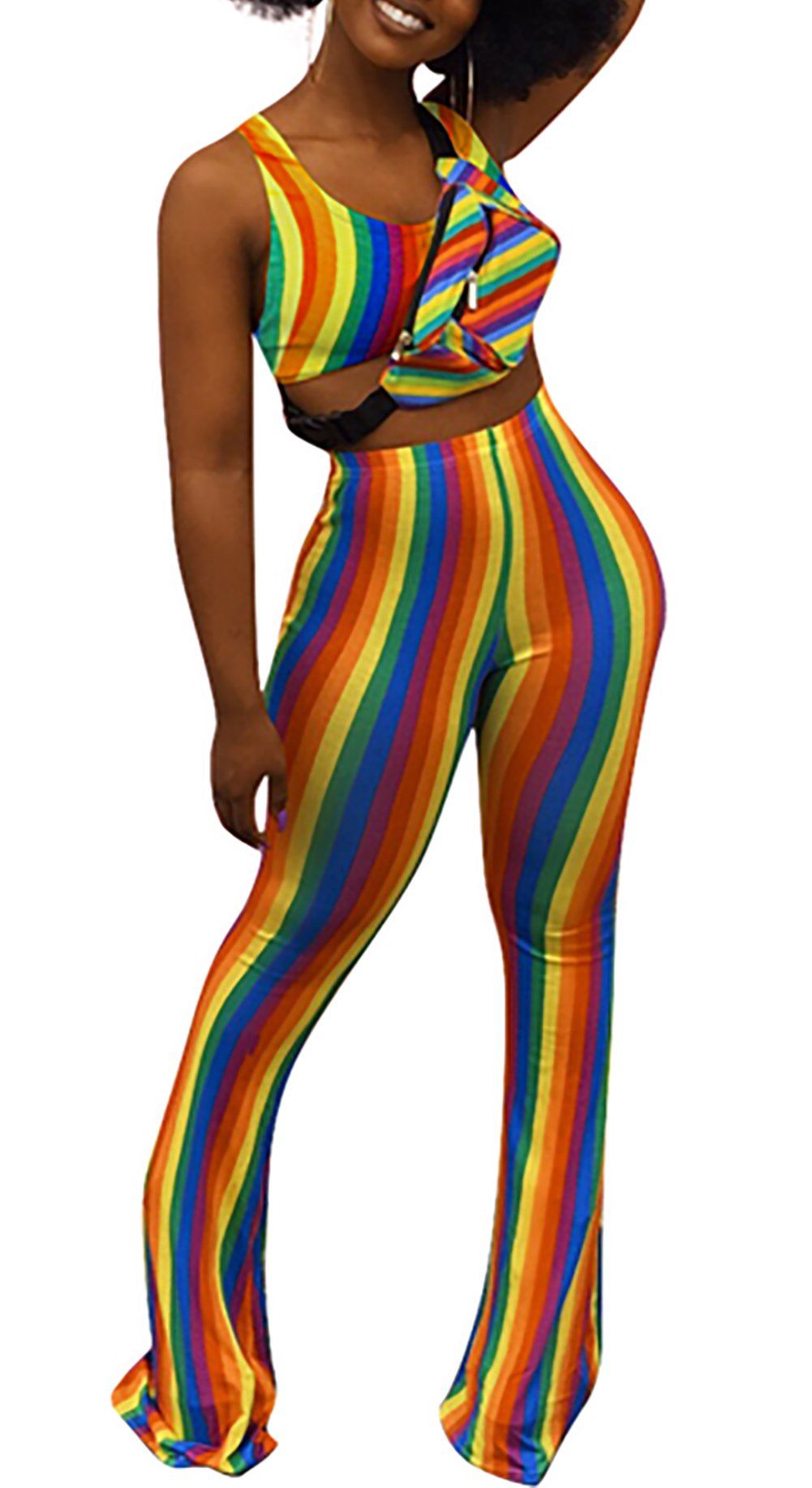 DingAng Women's 2 Piece Set Rainbow Striped Print Sexy Crop Cami Top Flared Bell Bottom Pants Jumpsuits Outfits