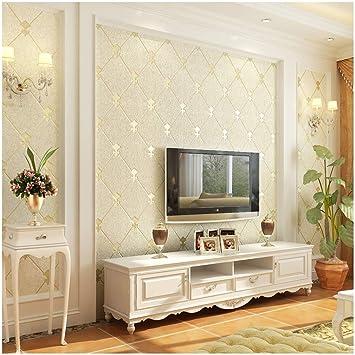 QIHANG European Modern Simple 3D Non Woven Imitation Deerskin Wallpaper Living Room TV Background Diamond