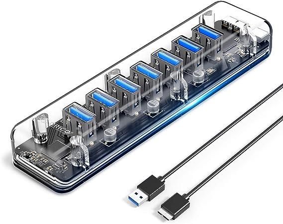 ORICO Concentrador USB 3.0, 7 Puertos USB 3.0 HUB de Escritorio ...