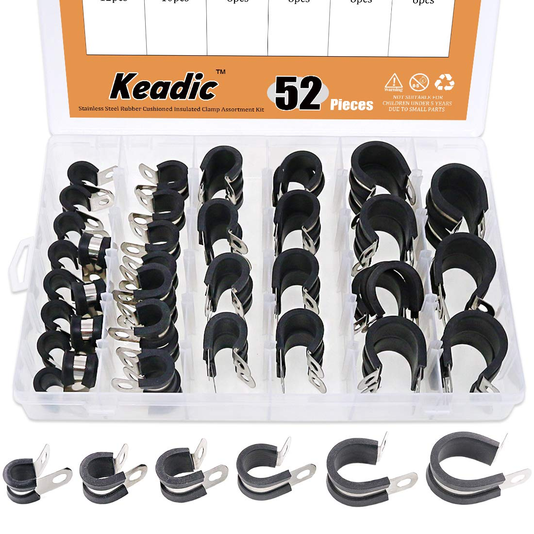 Keadic 52Pcs 1/4'' 3/8'' 1/2'' 5/8'' 3/4'' 1'' Cable Clamp Rubber Wire Clamps Stainless Steel Rubber Cushioned Insulated Clamps Metal Clamp Assortment Kit with Durable Storage Box by Keadic